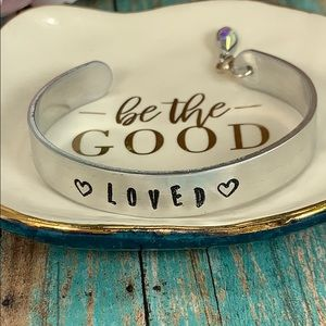 Hand stamped Loved double heart cuff bracelet